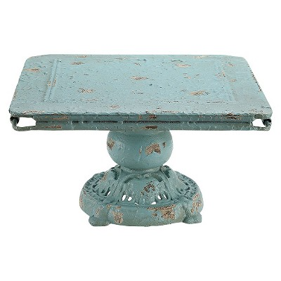 Metal Pedestal Distressed Blue
