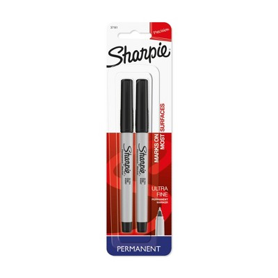Sharpie Permanent Marker, Ultra Fine Tip, 2ct - Black
