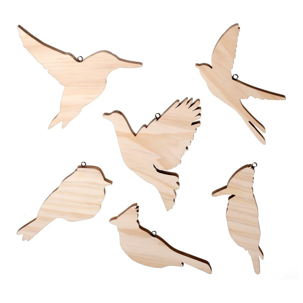 Hand Made Modern - Wood Bird Ornaments, 6ct, Natural