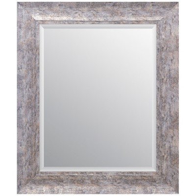 16 x20  Distressed Scoop Framed Beveled Wall Accent Mirror Silver - Gallery Solutions
