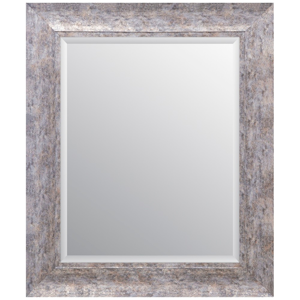 """Image of """"16""""""""x20"""""""" Distressed Scoop Framed Beveled Wall Accent Mirror Silver - Gallery Solutions"""""""