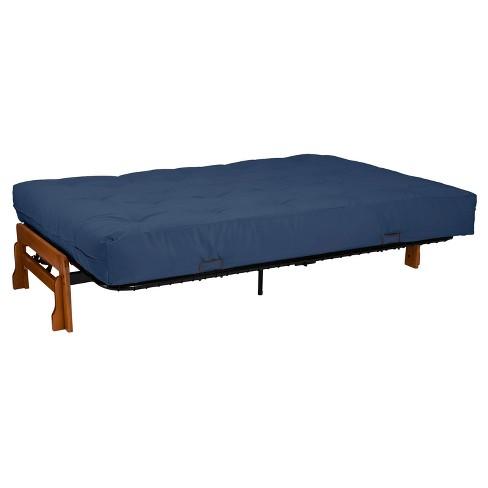 World Cl 10 Loft Pocketed Coil Inner Spring Futon Mattress Suede Dark Blue Queen Size Sit N Sleep Target