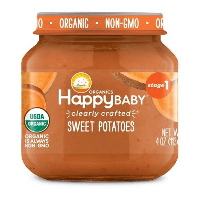HappyBaby Clearly Crafted Sweet Potatoes Baby Food - 4oz