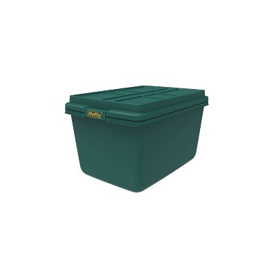 Hefty 18gal Hi Rise Storage Tote with Lid and Foil Green/Gold