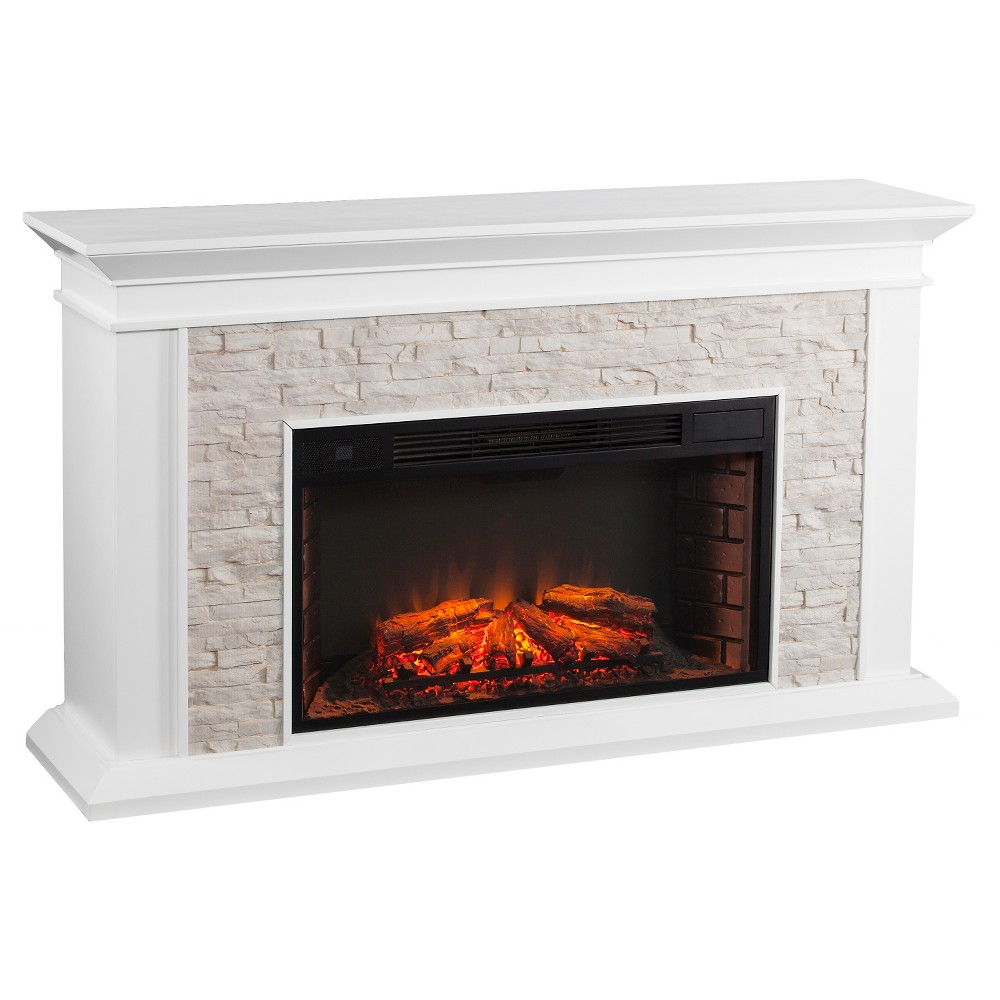 Southern Enterprises Decorative Fireplace White With Rustic White Faux Stone