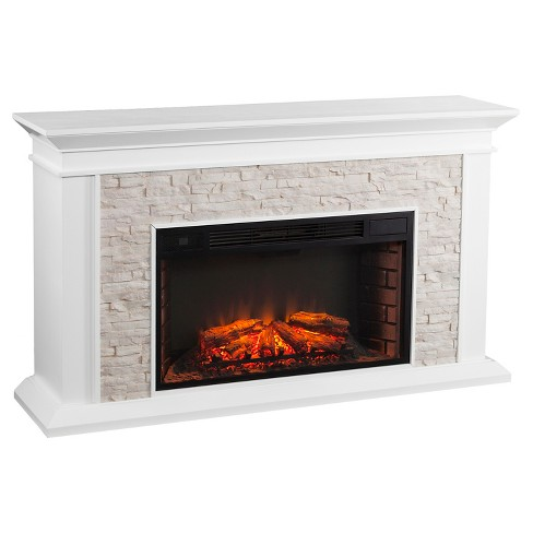 Southern Enterprises Decorative Fireplace White With Rustic Br