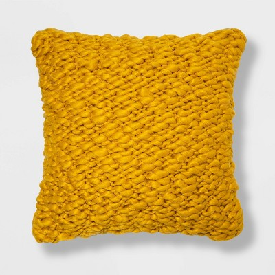 Chunky Weave Square Throw Pillow Yellow - Project 62™