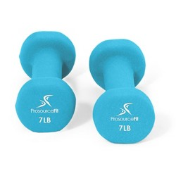 Prosource Fit 7 Pound Iron Neoprene Coated Non Slip Dumbbell Weight Set, Blue