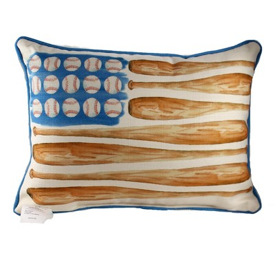 "Home Decor 14.0"" Baseball Flag Pillow Sports Play Ball  -  Decorative Pillow"