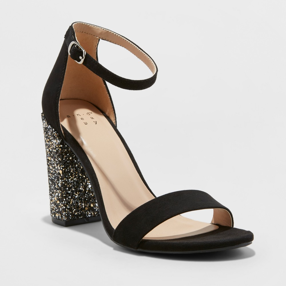 Women's Ema Glitter Satin High Block Heel Pump Sandal - A New Day Black 6.5