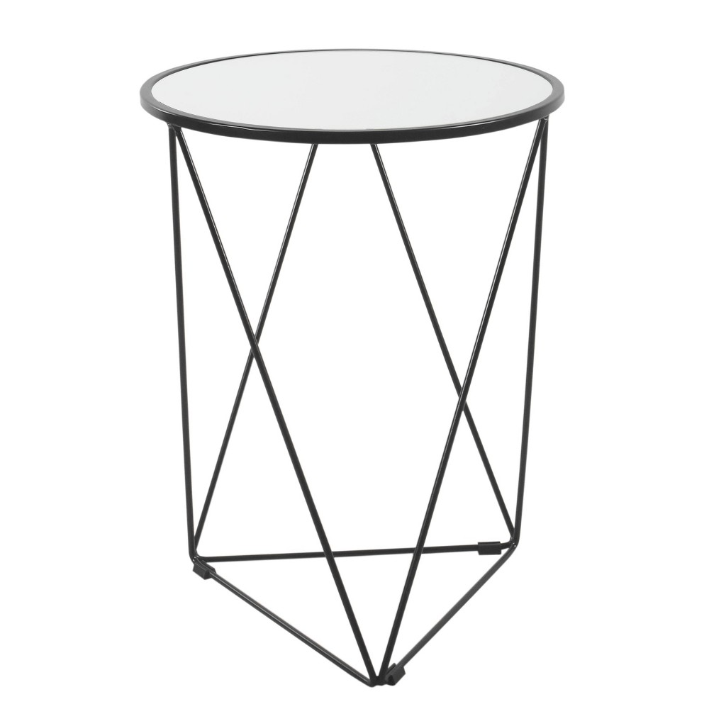 Metal Accent Table Triangle Base With Round Mirror Top Black Homepop
