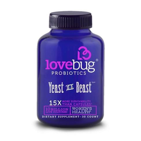 LoveBug Probiotics Yeast is a Beast Women's Health Dietary Supplement Capsules - 30ct - image 1 of 3