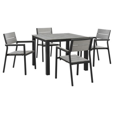 Maine 5pc Rectangle Metal Patio Set - Brown/Gray - Modway
