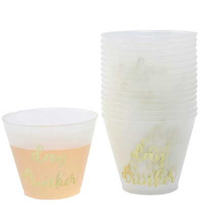 Blue Panda 16 Packs Plastic 9 oz Wine Party Cups Gold Foil Frosted Disposable Cup Birthday Wedding Parties