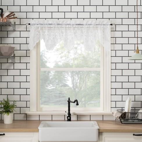Set of 2 Alison Floral Lace Sheer Rod Pocket Kitchen Curtain Valance - No. 918 - image 1 of 4
