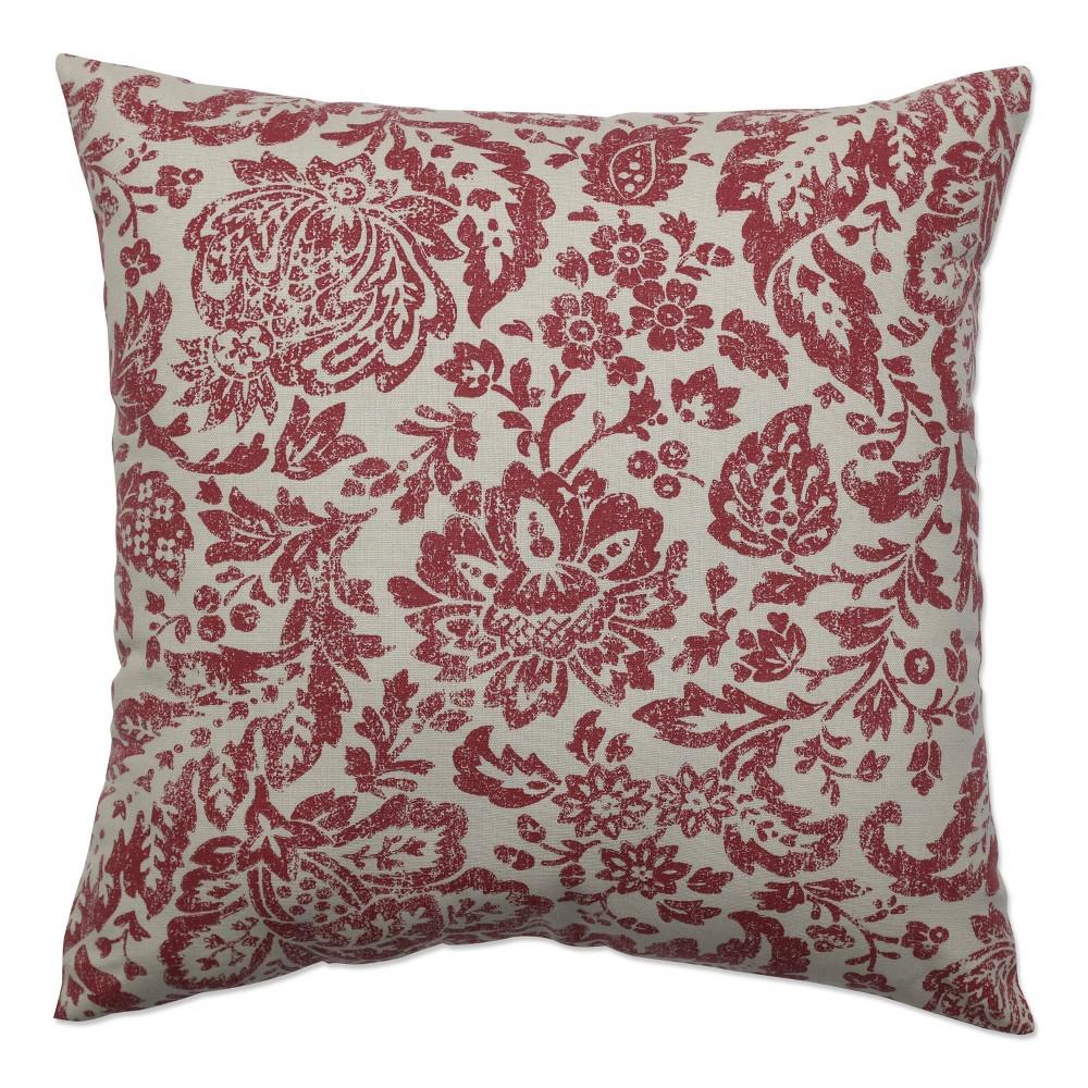 Red Tan Floral Damask Floor Throw Pillow 24 5 X24 5 Pillow Perfect