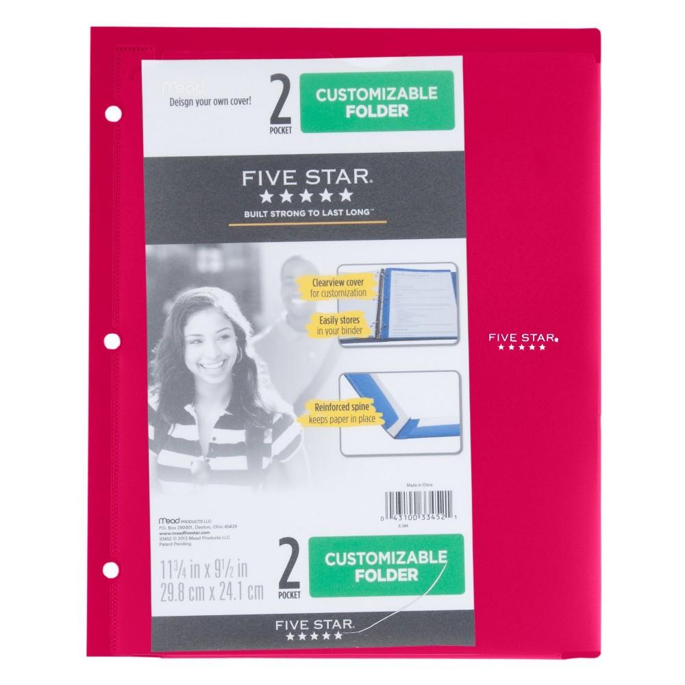 Image of Customizable Plastic Folder 2 Pocket Red - Five Star