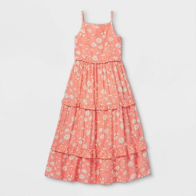 Girls' Tiered Woven Maxi Sleeveless Dress - Cat & Jack™ Coral