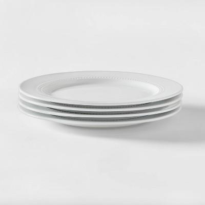 Beaded Porcelain Dinner Plate 10.78   0 - Set of 4 - Threshold™