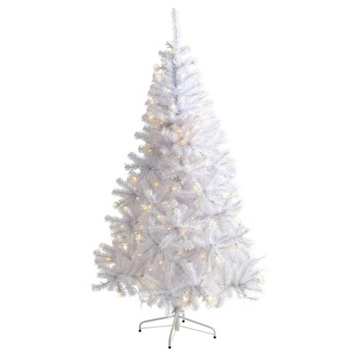 6ft Nearly Natural Pre-Lit LED White Artificial Christmas Tree Clear Lights