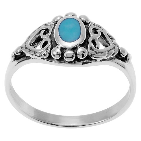 1/10 CT. T.W. Oval-cut Turquoise Scroll Heart Inlaid Set Ring in Sterling Silver - Turquoise - image 1 of 1