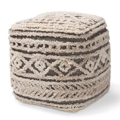 Cronin Handwoven Hemp Moroccan Inspired Pouf Ottoman Beige/Brown - Baxton Studio