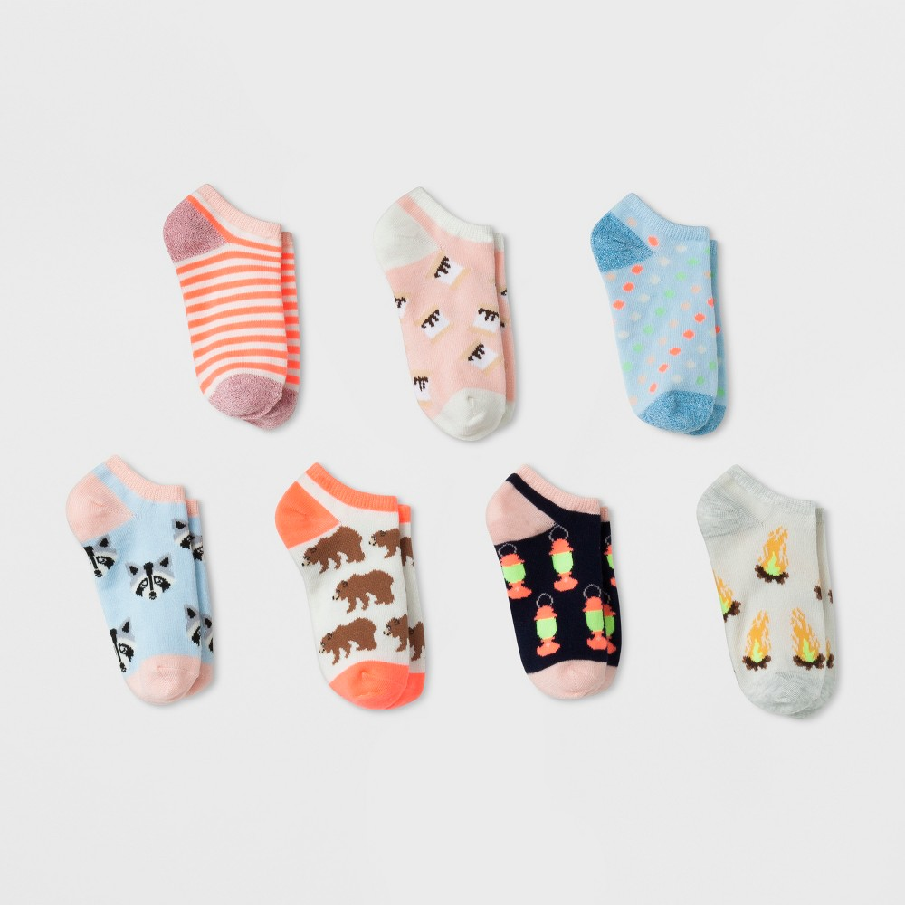 Girls' 7pk Camping Pack No-Show Socks - Cat & Jack S, Multicolored