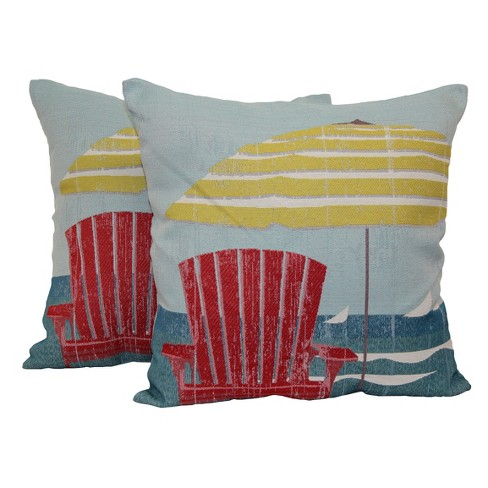 "Coastal Chair and Umbrella Throw Pillow 2 Pack (12""x16"") - Brentwood - image 1 of 1"