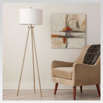 Ellis Tripod Floor Lamp Brass Includes Energy Efficient Light Bulb - Project 62™