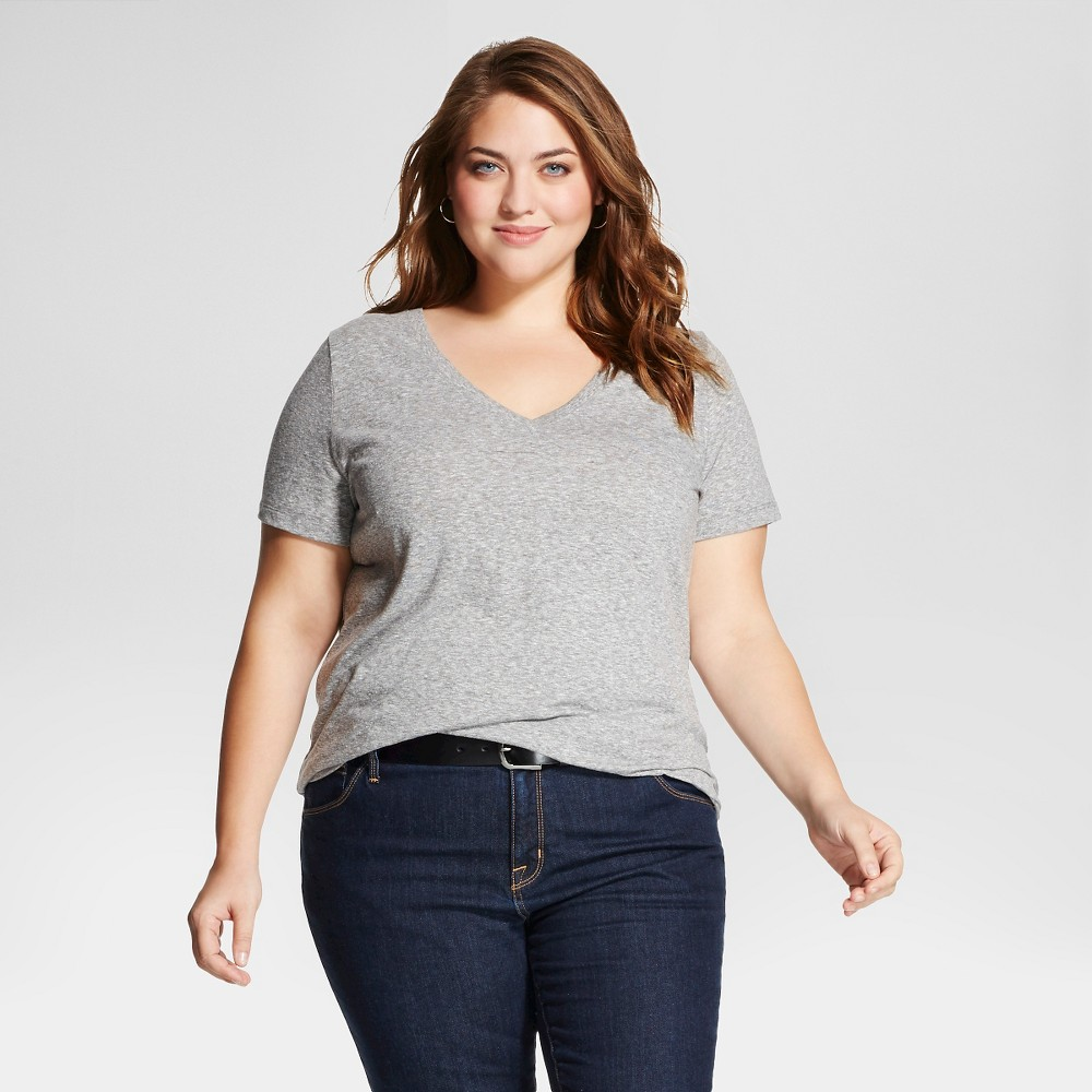 Women's Plus Size Short Sleeve T-Shirt - Ava & Viv - Gray 1X, Flat Gray
