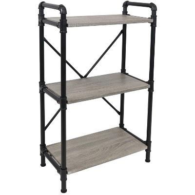 Sunnydaze 3 Shelf Industrial Style Pipe Frame Freestanding Bookshelf with Wood Veneer Shelves - Oak Gray