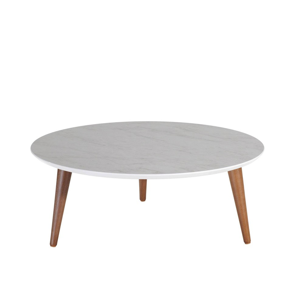 "Image of ""23.62"""" Moore Round Low Coffee Table Marble Gloss Gray - Manhattan Comfort"""