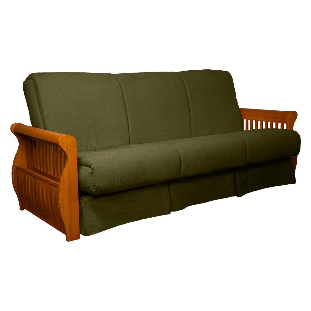 Storage Arm Perfect Futon Sofa Sleeper Medium Oak Wood Finish Olive Green - Epic Furnishings