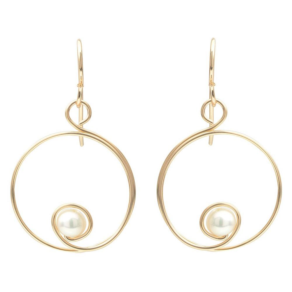 Women's Journee Collection Small Teardrop Bead Dangle Earrings in Sterling Silver - Silver, Gold