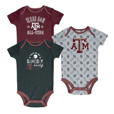 Texas A&M Aggies Baby Boy Short Sleeve 3pk Bodysuit 6-9M
