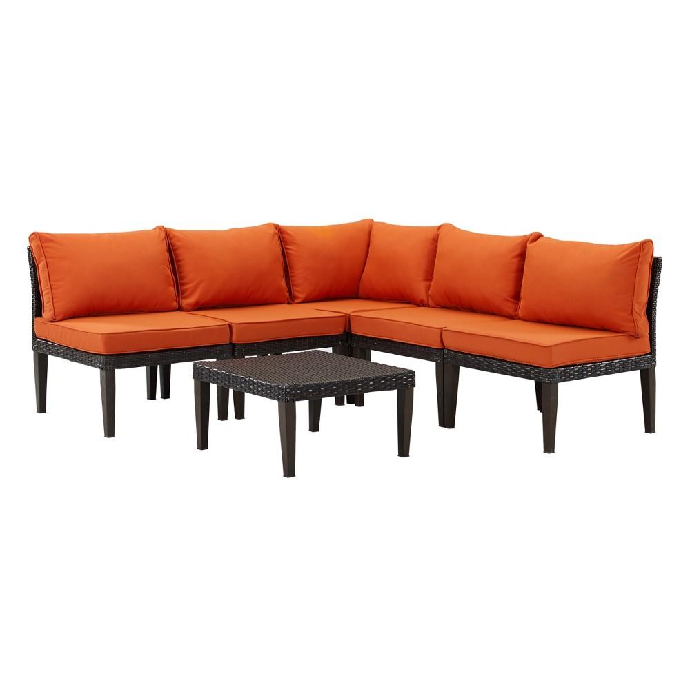 Image of 6pc Amalfi Wicker Lounge Set Brown/Orange - DH Casual