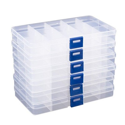 Juvale 6 Pack Clear Plastic Jewelry Organizer Container Storage Box with Adjustable Movable Dividers 15 Grids for Beads, Jewelry and Fishing Hook