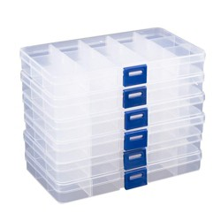 6 Pack Clear Plastic Jewelry Organizer Container Storage Box with Adjustable Movable Dividers 15 Grids for Beads, Jewelry and Fishing Hook