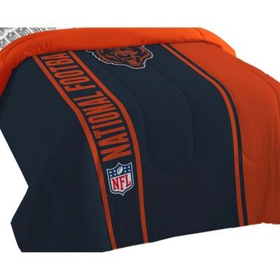 NFL Chicago Bears Bed Comforter Set Football Team Logo Silhouette Stripe Bedding