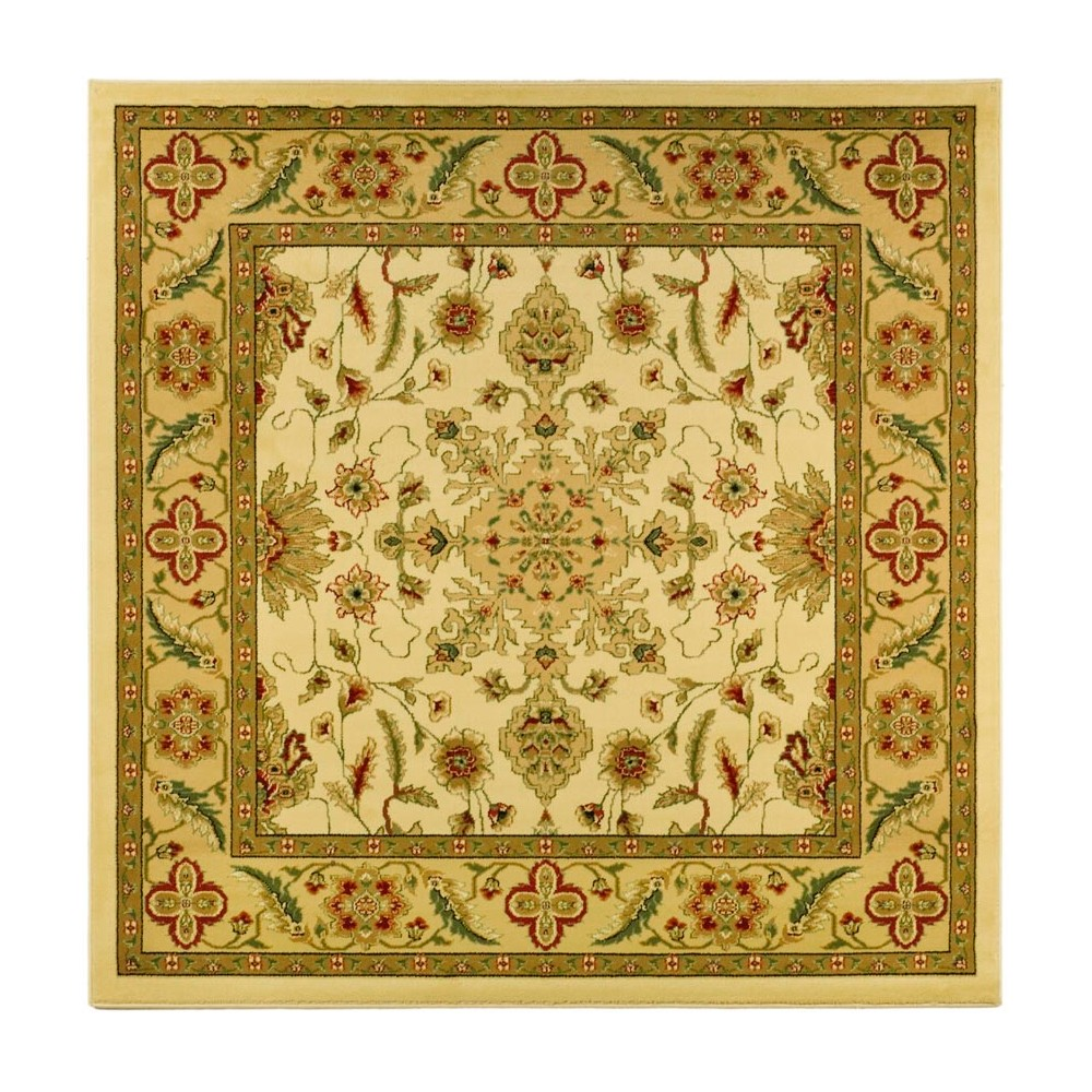 8'X8' Loomed Floral Square Area Rug Ivory/Tan - Safavieh, White