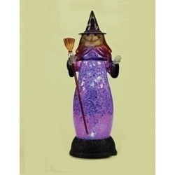"Roman 12"" Prelit LED Battery Operated Wicked Witch Halloween Figure - Blue"