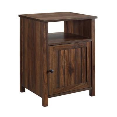 Georgia Single Door Storage Nightstand Dark Walnut - Saracina Home