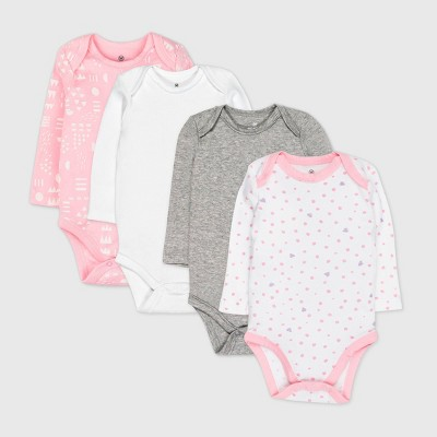 Honest Baby Baby Girls' 4pk Love Dot Organic Cotton Long Sleeve Bodysuit - Pink Newborn