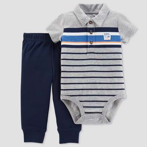 Baby Boys' 2pc Striped Polo Bodysuit and Pants Set - Just One You™ Made by Carter's® Gray - image 1 of 1