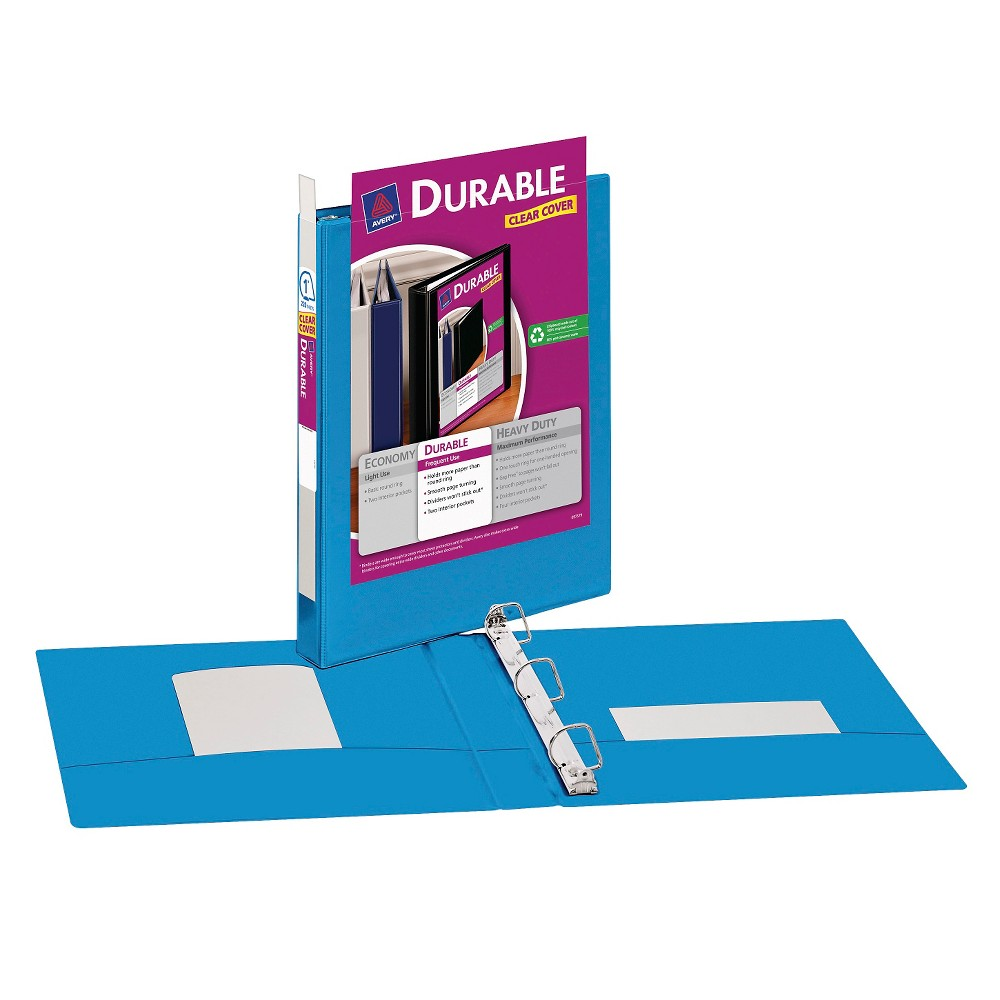 "Image of ""Avery 1"""" Durable 3 Ring Binder with Clear Cover Blue"""