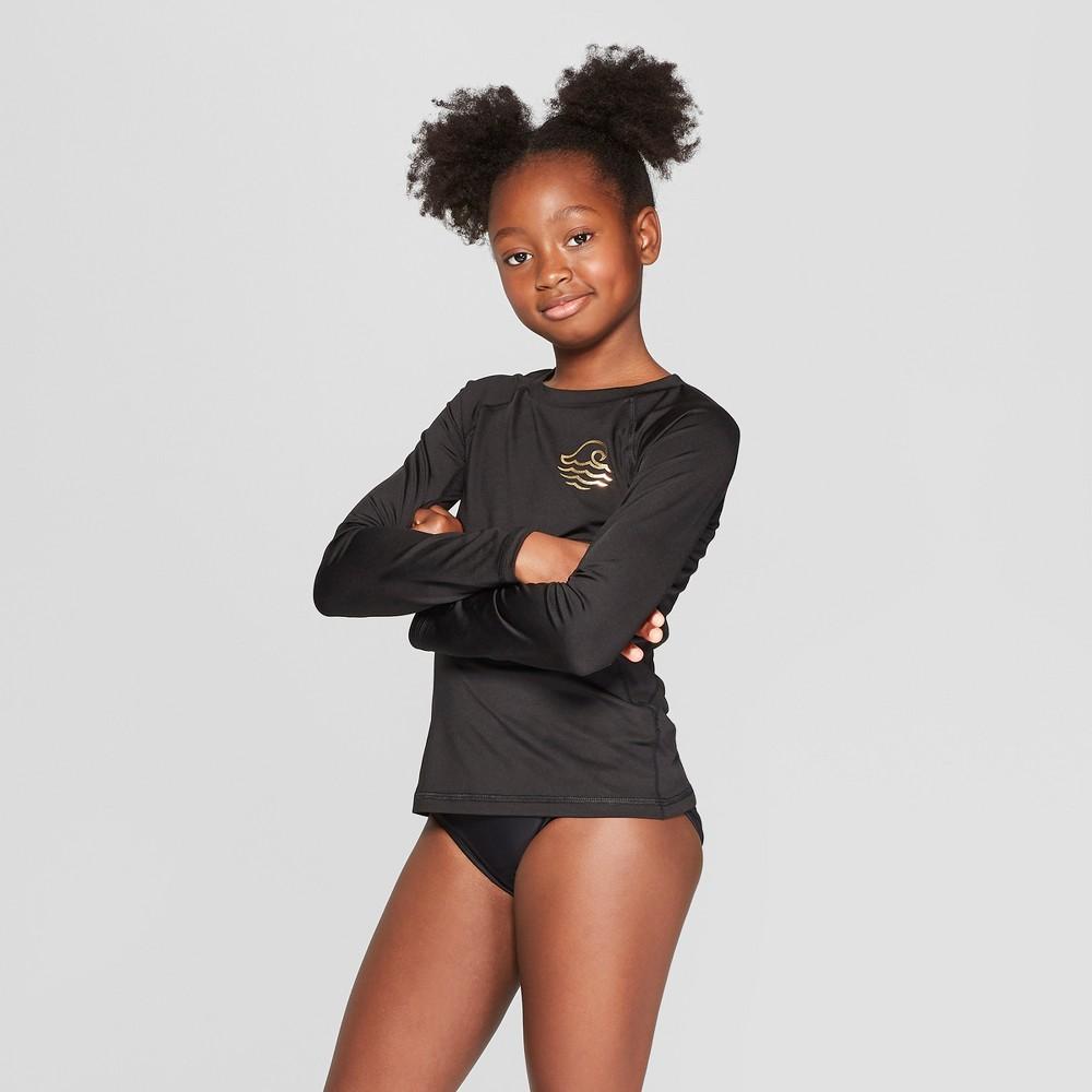 Girls' Long Sleeve Rashguard - art class Black L Plus