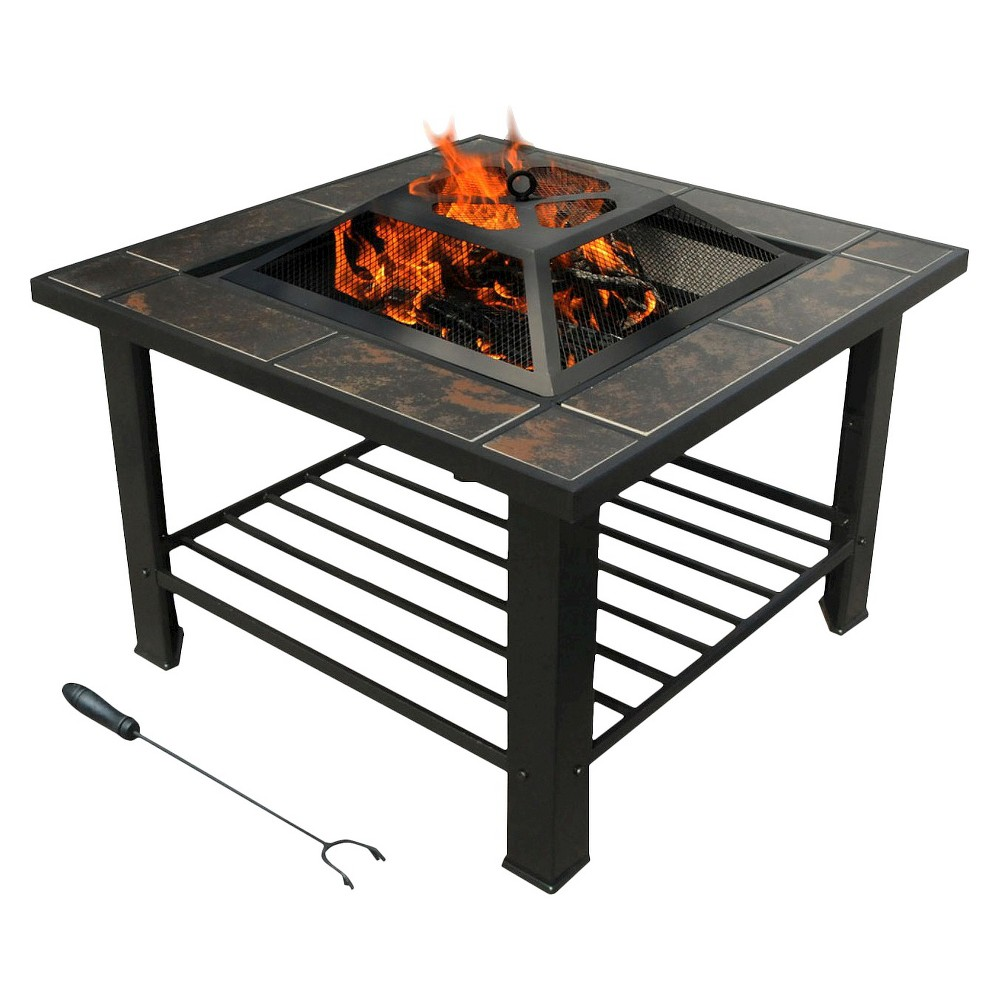 leisurelife Florence Coffee Table / Firepit, Brown