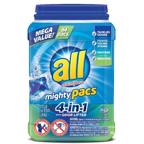 All Mighty Pacs 4-in-1 With Odor Lifter Unit dose HE Laundry Detergent 64ct - 64 loads - image 1 of 5