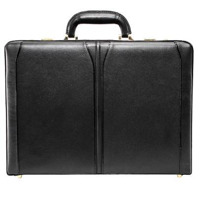 """McKlein Lawson Leather 3.5"""" Attache Briefcase - Black"""