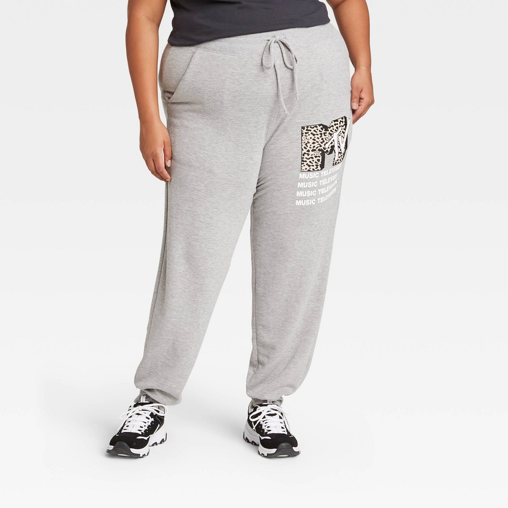 Women 39 S Mtv Plus Size Jogger Pants Gray 1x